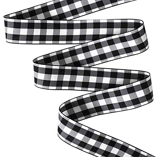 Taffeta Wired Ribbon 1 inch by 10 yd Black Checked Ribbon Gingham Trim Embellishments Gifts Wrap Party Ribbon Decoration Hair Bow Picnic Craft Supplies ()