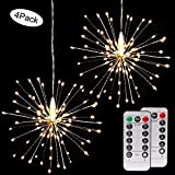4 Pack LED Firework Copper Lights,8 Modes 120 LED Dimmable String Fairy Lights with Remote Control,Decorative Hanging Starburst Lights for Parties,Home,Outdoor Decoration (4 Pack, Warmwhite Firework)