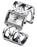 Top Plaza Women Fashion Silver Tone Rectangle Crystal Accented Case Arabic Numeral Scale Cross Band Bangle Cuff Bracelet Watch