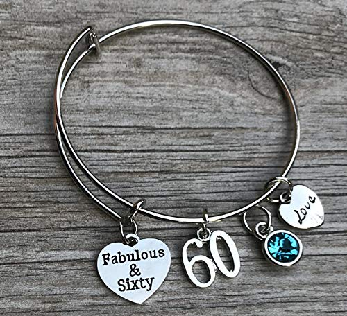 60th Birthday Bangle Bracelet with Birthstone Charm, Fabulous and Sixty Birthday Gifts for Women, Vintage 1959 Aged to Perfection Bracelet. 60th Bday Gifts for Her