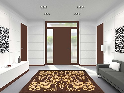 3-feet X 5-feet Non-Skid Rubber Backed Area Rug | BROWN - IVORY FLORAL Modern Rectangle Rugs 3X5 by Qute Home (Image #5)