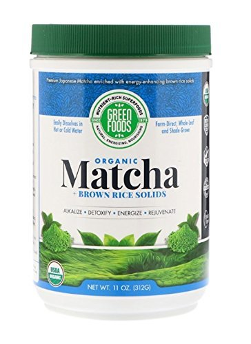 Green Foods Corporation, Organic Matcha Green Tea + Brown Rice Solids, 3 Pack (312 g) Leaves with high Levels of Chlorophyll