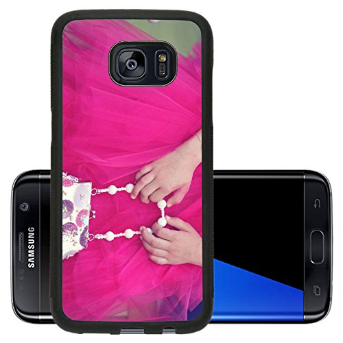 Luxlady Premium Samsung Galaxy S7 Edge Aluminum Backplate Bumper Snap Case IMAGE ID: 42358300 Hands of a little girl holding a pink purse