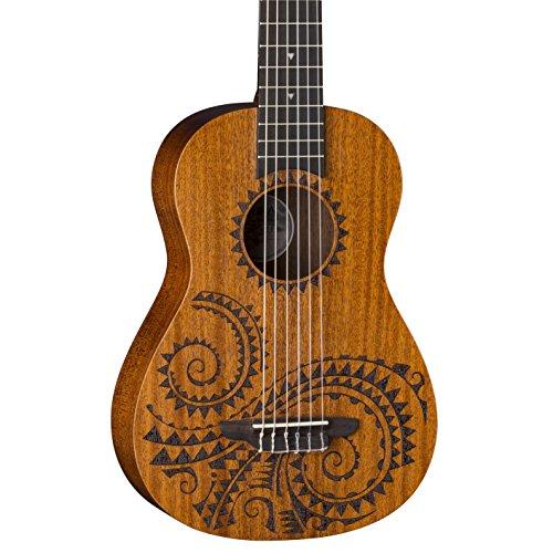 Luna Tattoo Mahogany 6-String Baritone Ukulele with Gig Bag, Satin Natural