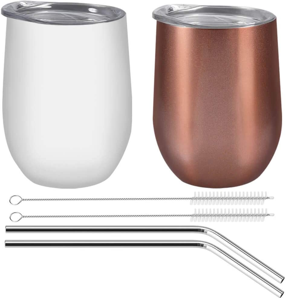 Anezus 12oz Insulation Stemless Glass Wine Tumbler Stainless Steel Tumbler Cup with Lids and Stainless Steel Straw for Wine, Coffee, Drinks, Champagne, Cocktails, 2 Sets (Rose Gold & White)
