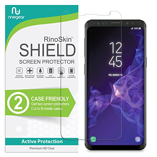 Galaxy S9 Screen Protector [2-Pack] [Case Friendly] RinoGear Flexible HD Crystal Clear Anti-Bubble Unlimited Replacement Film