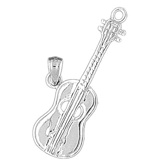 Amazon 14k white gold acoustic guitar pendant 32 mm jewelry 14k white gold acoustic guitar pendant 32 mm aloadofball Choice Image