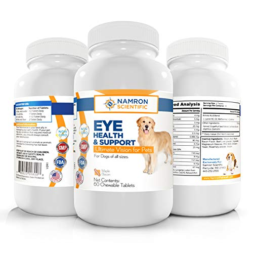 Namron Scientific Vision Supplement for Dogs, Multivitamin Eye and Health Support with Lutein, Zeaxanthin, Omega-3 Fatty Acids and 12 Natural Antioxidants for Dogs