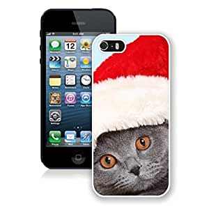 Personalized Design Yellow Eyes Christmas Hat Cat Iphone 5s Case,Phone Case For Iphone 5,Iphone 5 White TPU Cover
