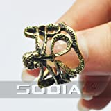 SODIAL(R) Vintage Bronze Octopus Sea Monster Squid Kraken Steampunk Antique Ring Retro - SODIAL Retail Packaging