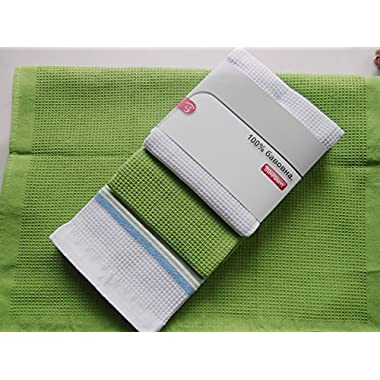 Classic Kitchen Towels, 100% Natural Cotton, The Best Tea Towels, Dish Cloth, Absorbent And Lint-Free, Machine Washable, 20 x 27 Inch, 3 Pack, White With Green Stripe