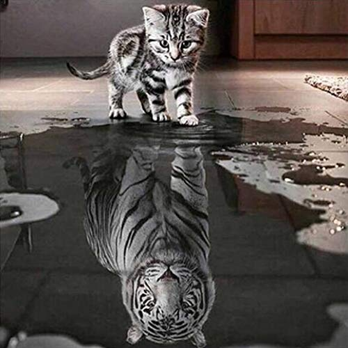 New Arrival!Deesee(TM)DIY 5D Diamond EmbroideryCat and Tiger DIY 5D Diamond Embroidery Painting Cross Stitch Home Decor Craft (1 Panel) ()