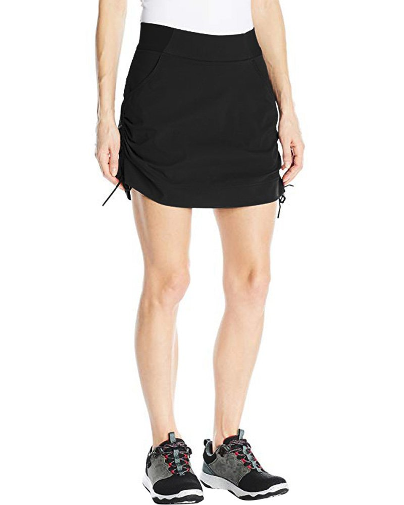 Jessie Kidden Women's Anytime Casual Athletic Stretch Skort Skirt with Shorts and Pocket for Running Tennis Golf Workout #205,Black, L