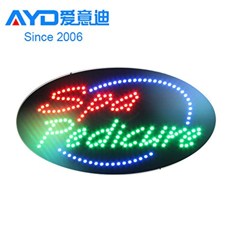 LED Spa Pedicure Open Light Sign Super Bright Electric Advertising Display Board for Message Business Shop Store Window Bedroom Decor (Red & Green, 27 x 15 inches) ()