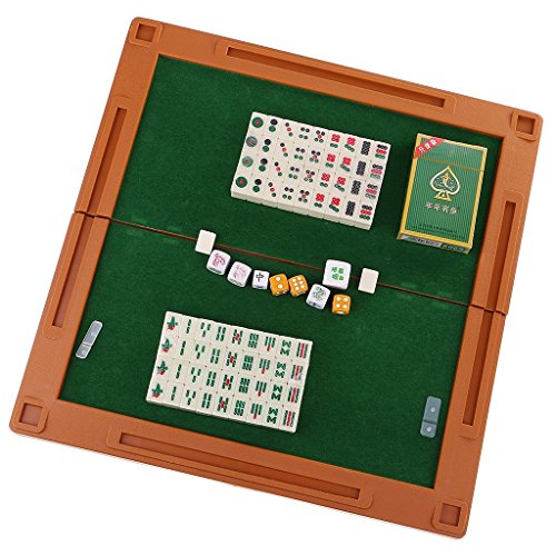 kiingsung Mini 144麻雀牌中国麻雀Mahjongg旅行ゲームセットfor Whole Family Funコンパクトサイズ