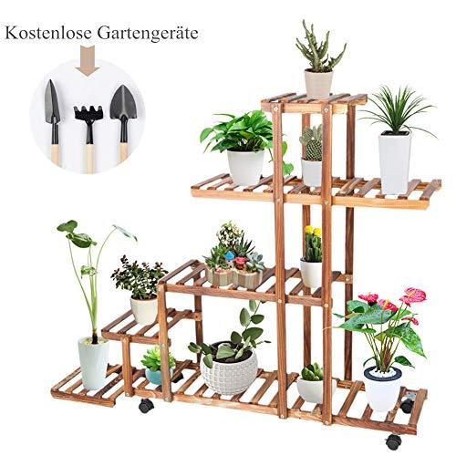 Cocoarm Blumenregal Blumentreppe Holz mit Pflanzenregal, 6 Ebenen  Pflanzentreppe Blumenständer Blumenbank Pflanzenroller mit Rädern für Innen  ...