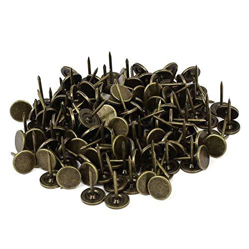 Sydien 7/16 Inch Dia Upholstery Tack Nail Pushpin Thumb Tack Push Pins Bronze Tone 200Pcs (Flat Head 11x17mm) (Upholstery Tone)