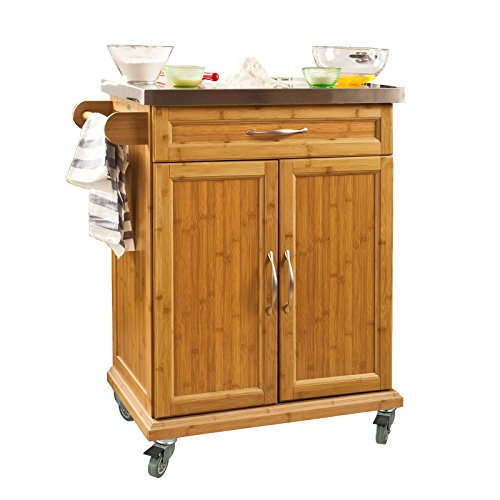 SoBuy? Bamboo Kitchen Cabinet, Kitchen Storage Trolley Cart with Stainless Steel Surface, 66x46x90cm, FKW13-N by SoBuy by SoBuy
