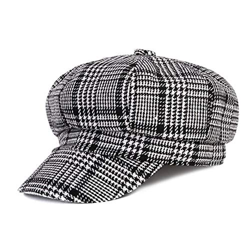 Autumn Winter Black White Felt Hats for Women Vintage Thick Octagonal Cap Female Casual