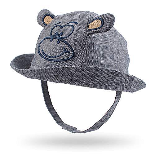 Cartoon Monkey Baby Hat Classic Toddler Boys Sun Hat Wide Brim Beach Hat for Girls Summer Autumn (M) Gray -
