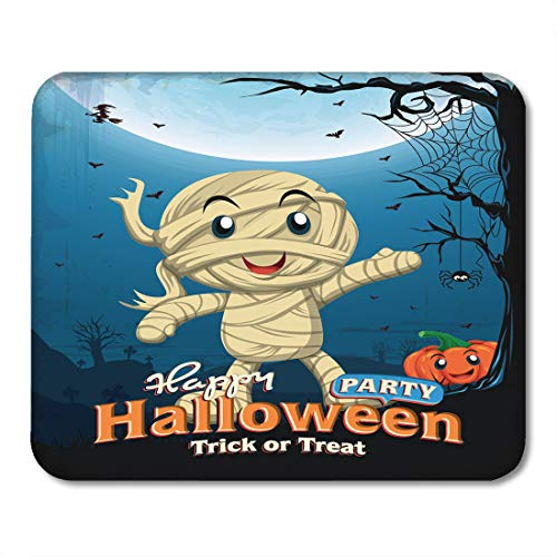 Nakamela Mouse Pads Border Party Vintage Halloween Design with Kid in Mummy Costume Spider Hellowen Mouse mats 9.5