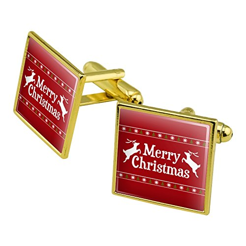Merry Christmas Holiday Reindeer Square Cufflink Set Gold Color