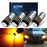 AUTOGINE 4pcs 900 Lumens Super Bright 9-30V 1157 2057 2357 7528 BAY15D LED Bulbs 3014 54-EX Chipsets with Projector for Turn Signal Lights, Amber Yellow
