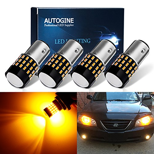 AUTOGINE 4 X Super Bright 9-30V 1157 2057 2357 7528 LED Bulbs 3014 54-EX Chipsets with Projector for Turn Signal Lights Sidemarker Lights, Amber Yellow