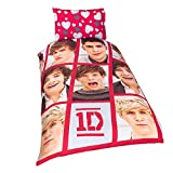 one direction bed set for boys - One Direction Childrens Girls Boyfriend Reversible Duvet / Quilt Cover Bedding Set (Full Bed) (Red/White)