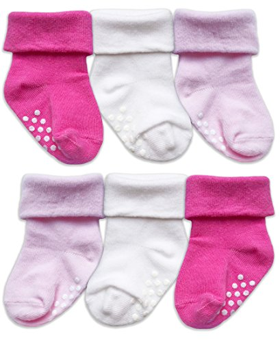 - Jefferies Socks Toddler Non Slip Turn Cuff Cotton Socks 6 Pair Pack (Infant - USA Shoe 1-4 - 3-12 Months, Bubblegum/White/Light Pink)
