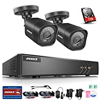 ANNKE 8CH 1080P Lite H.264+ Video DVR Security Camera System and (2) 720P 1.3MP Outdoor Fixed CCTV Cameras, One 1TB HDD