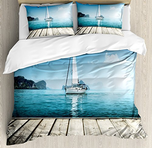 (Ambesonne Nautical Duvet Cover Set King Size, Yacht from Wooden Deck Horizon Serenity Seascape Leisure Summer Aquatic Boat Coastal Theme, Decorative 3 Piece Bedding Set with 2 Pillow Shams, Blue Brown)