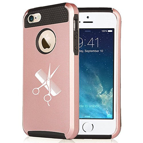 For Apple iPhone 7 Shockproof Impact Hard Soft Case Cover Hairdresser Cutting Scissors Comb (Rose Gold-Black)