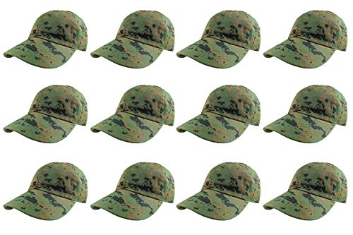 Gelante Baseball Caps 100% Cotton Plain Blank Adjustable Size Wholesale LOT 12 Pack (Green Digital Camo) ()