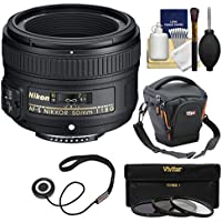 Nikon 50mm f/1.8G AF-S Nikkor Lens with Case + 3 UV/CPL/ND8 Filters + Kit for D3200, D3300, D5300, D5500, D7100, D7200, D750, D810 Cameras