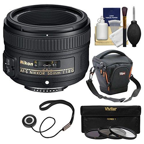 Nikon 50mm f/1.8G AF-S Nikkor Lens with Case + 3 UV/CPL/ND8