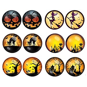 LilMents 6 Pairs Spooky Halloween Stainless Steel Mens Womens Unisex Earrings Set