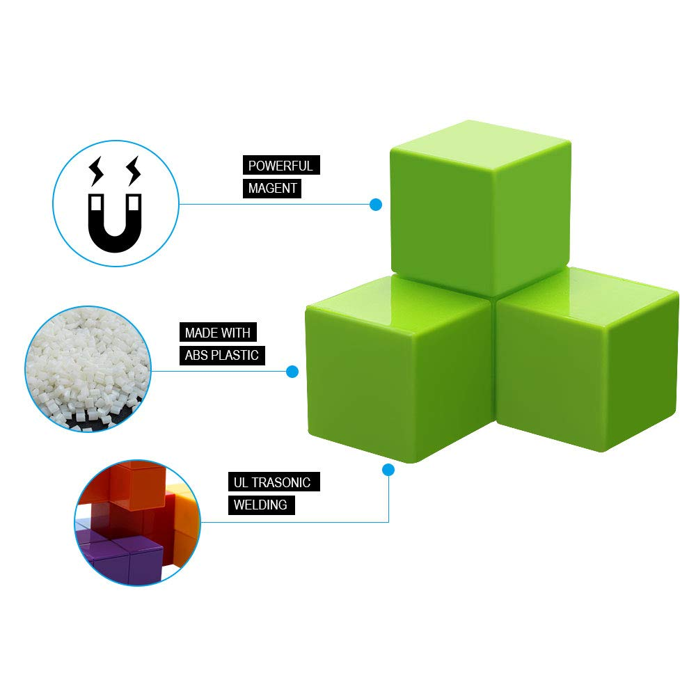 Magnetic Toys Magic Cubes Stress Relief for Adults Magnet Blocks for Kids Magnetic Building Blocks Bricks Toy Educational Puzzles by Bicycle (Image #2)