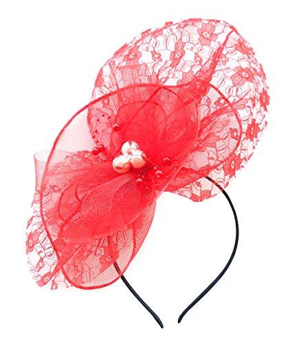 Cap Headpiece (Women Removable Fascinator Hair Clip Headband Lace Flower Pearl Wedding Headwear Bridal 1920s Headpiece (Red))
