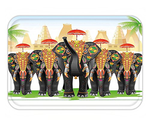Beyonce Performance Costumes (Minicoso Doormat Ethnic Elephants in Traditional Costumes with Umbrellas Indian Ceremony Ritual Graphic Multicolor)