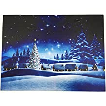 Christmas LED Wall Art -Colorful Lighting Christmas Night Scene- Christmas Lights in the Trees Light Up, 3AAA battery operated, 15.8 x 1 x 11.5 Inch