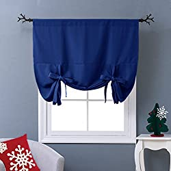 """NICETOWN Balloon Shades Blackout Curtain - Adjustable Thermal Insulated Tie Up Curtain Panel Valance (Royal Navy Blue, Rod Pocket Panel, 46"""" W x 63"""" L)"""