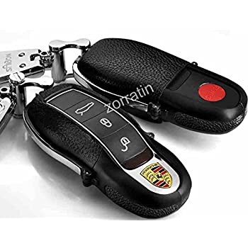 Luxury Black Real leather Key Case Shell Cover with Chrome Chain for Porsche Cayenne Caman Panamera 911 981 (1 set consisting of 1 keychain+ 1 Shell cover)