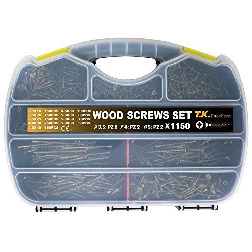 T.K.Excellent Wood Screw Phillips Flat Head Drywall Chipboard Screw Assortment Kit,1150 Pcs (Chipboard Home)