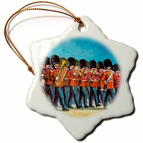 OneMtoss Scenes from The Past Magic Lantern Slide Victorian era Marching Band Featuring Brass Instruments. Snowflake Porcelain Ornament