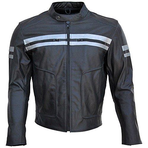 Classyak Chamarra de Piel para Motocicleta, Paneles Perforados y Protección, XS-5 x L, Azul, XX-Large