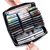 Credit Card Wallet for Women and Man, MUIZFUFI 36Card Solt Folder Huge Storage Capacity ,Zip Leather Portable Card Bag With Cash/Passport Compartment ,With Gift Box, RFID Blocking