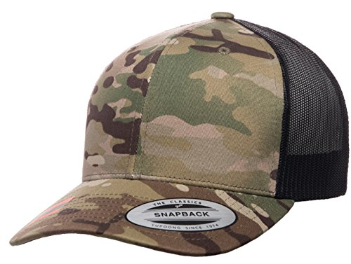 Yupoong Retro Trucker Hat & 2-Tone Snapback - 6606, by Flexfit (Adjustable, Multicam - Flexfit Snapback