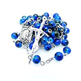 Soul Shop Modern Speckled Rosary - Pop-Inspired Christian/Catholic Gift Prayer Beads in Gift Box (Deep Sea Blue)