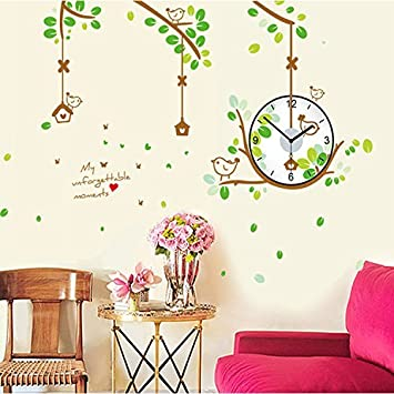Buy UberLyfe Beautiful Nature Wall Clock cum Wall Sticker Wall